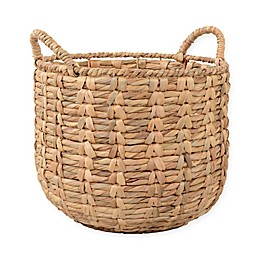 Water Hyacinth Round Basket with Handles