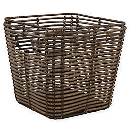 ORG Tapered Handwoven Poly-Rattan Storage Basket  in Brown/Grey