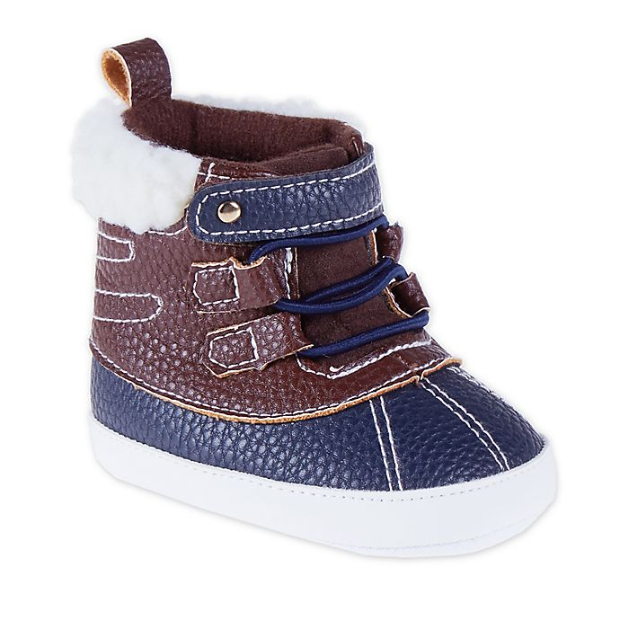 Alternate image 1 for Stepping Stones Sherpa Trim Duck Boot in Brown/Navy