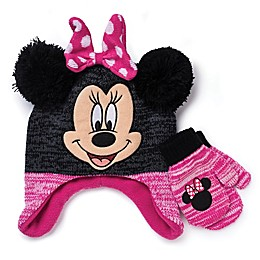 Disney® 2-Piece Minnie Hat and Mitten Set in Black