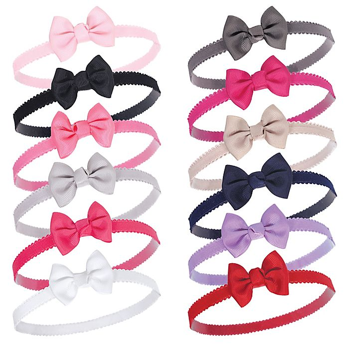 Alternate image 1 for Hudson Baby® 12-Count Petite Bow Headbands