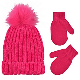 Addie & Tate Infant 2-Piece Pom-Pom Beanie and Mitten Set in Hot Pink