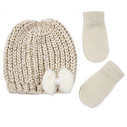 Addie & Tate Toddler 2-Piece Bow Beanie and Mitten Set in Gold