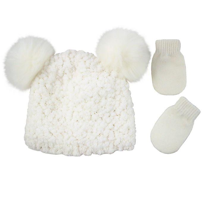Alternate image 1 for Addie & Tate Newborn 2-Piece Double Pom-Pom Beanie and Mitten Set in White