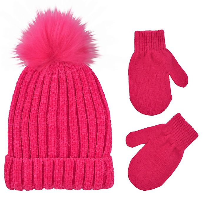 Alternate image 1 for Addie & Tate Toddler 2-Piece Pom-Pom Beanie and Mitten Set in Hot Pink