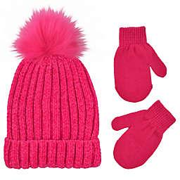 Addie & Tate Toddler 2-Piece Pom-Pom Beanie and Mitten Set in Hot Pink