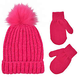 Addie & Tate Toddler 2-Piece Pom-Pom Beanie and Mitten Set in Hot Pink