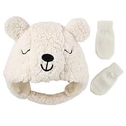 Addie & Tate 2-Piece Bear Hat and Mitten Set in Ivory