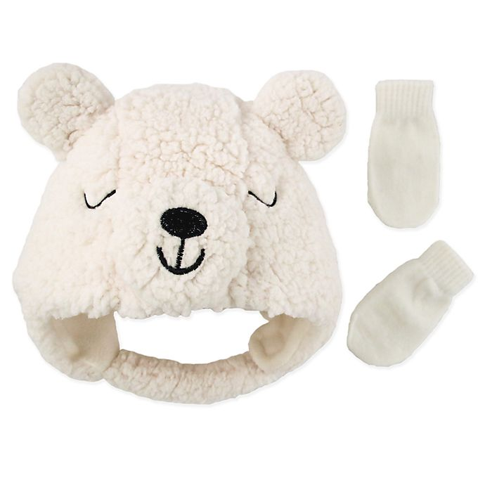 Alternate image 1 for Addie & Tate 2-Piece Bear Hat and Mitten Set in Ivory