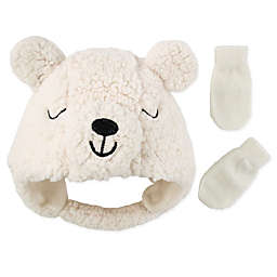 Addie & Tate 2-Piece Bear Hat and Mitten Set in Ivory