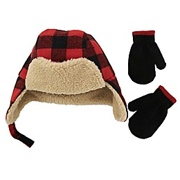 Addie & Tate 2-Piece Plaid Trapper and Mitten Set in Red