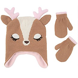 Addie & Tate 2-Piece Deer Hat and Mitten Set in Brown