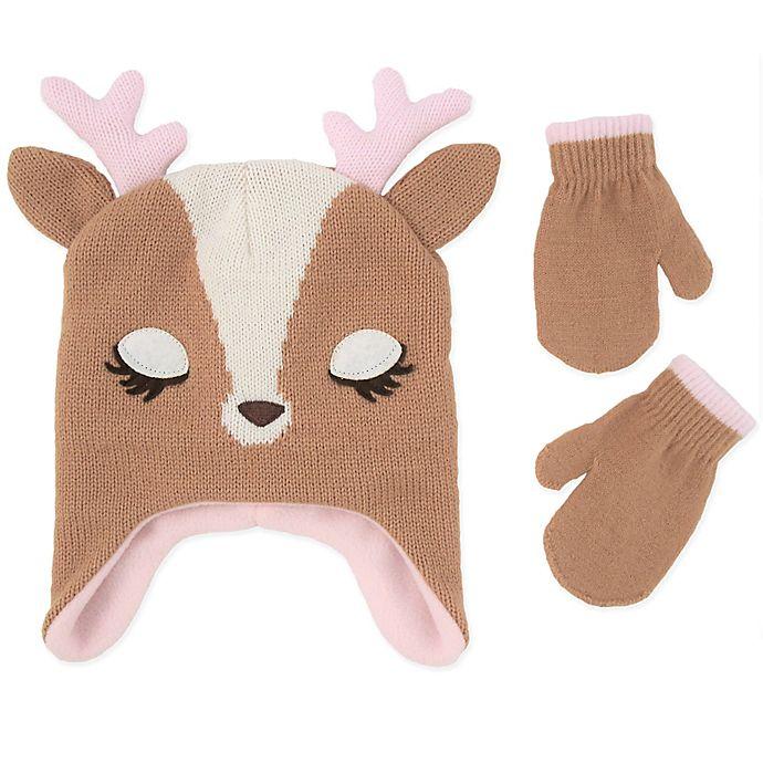 Alternate image 1 for Addie & Tate 2-Piece Deer Hat and Mitten Set in Brown