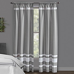 Wamsutta® Hotel Rod Pocket/BackTab Blackout Window Curtain Panel in Grey/Navy