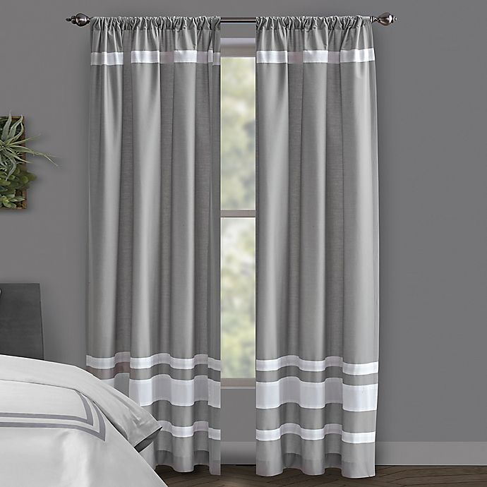 Alternate image 1 for Wamsutta® Hotel Rod Pocket/BackTab 100% Blackout Window Curtain Panel in Grey/Navy