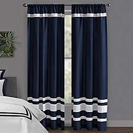 Wamsutta® Hotel Rod Pocket/BackTab 100% Blackout Window Curtain Panel in Grey/Navy