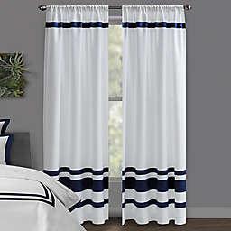 Wamsutta® Hotel 84-Inch Rod Pocket/BackTab 100% Blackout Window Curtain Panel in White/Navy