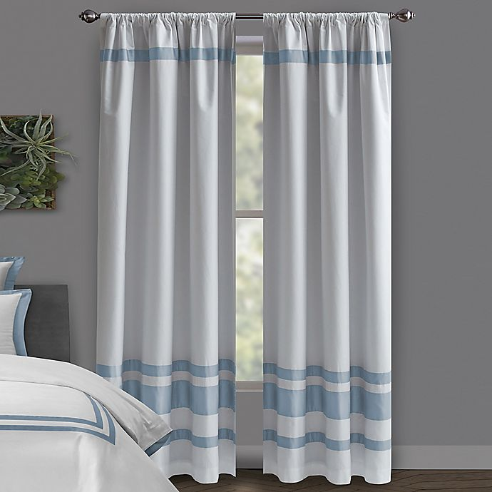 Alternate image 1 for Wamsutta® Hotel 95-Inch Rod Pocket/BackTab 100% Blackout Window Curtain Panel in White/Slate