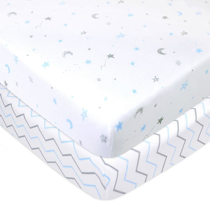 Alternate image 1 for TL Care® Cotton Jersey Fitted Mini-Crib Sheets (2-Pack)