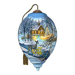 Ne'Qwa Art® Chapel In the Snow with Deer 5.5-Inch Hand-Painted Ornament
