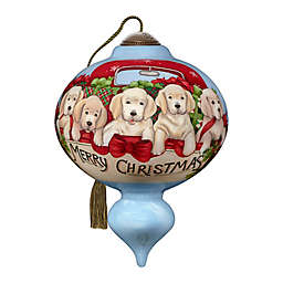 Ne'Qwa Art® Puppies Galore Christmas Gift 5.5-Inch Hand-Painted Ornament