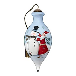 Ne'Qwa Art® 'Tis the Season Santa & Snowman Hand-Painted Ornament