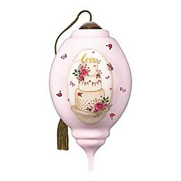 Ne'Qwa Art® Ivory Blush Wedding Cake 3.39-Inch Hand-Painted Ornament