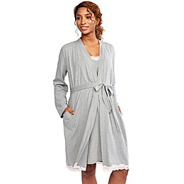 Motherhood Maternity® Lace Trim Nursing Nightgown and Robe in Grey