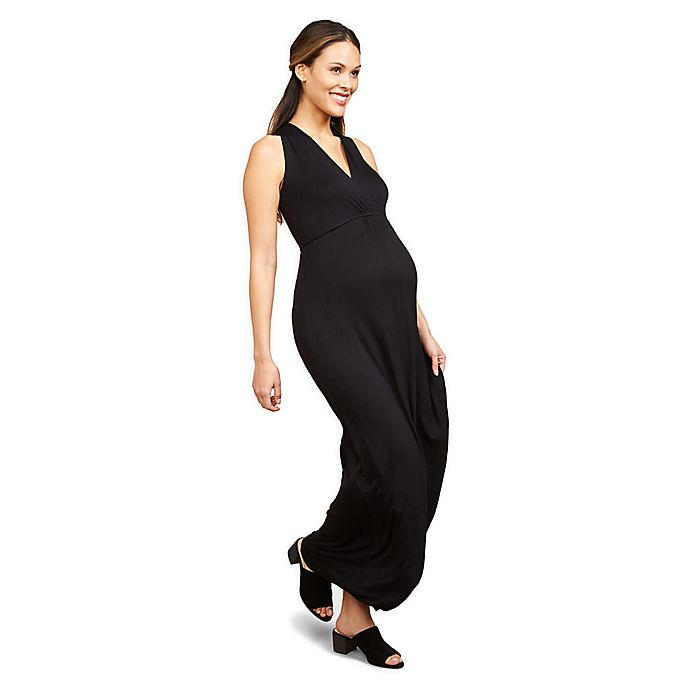 Alternate image 1 for Motherhood Maternity® Surplice Wrap Maternity Maxi Dress
