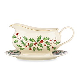 Lenox® Holiday™ 19 oz. Gravy Boat with Stand in Ivory