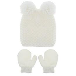 Capelli New York Newborn 2-Piece Poms Hat and Mitten Set in Ivory
