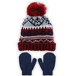 Capelli New York 2-Piece Fair Isle Hat and Mitten Set in Burgundy
