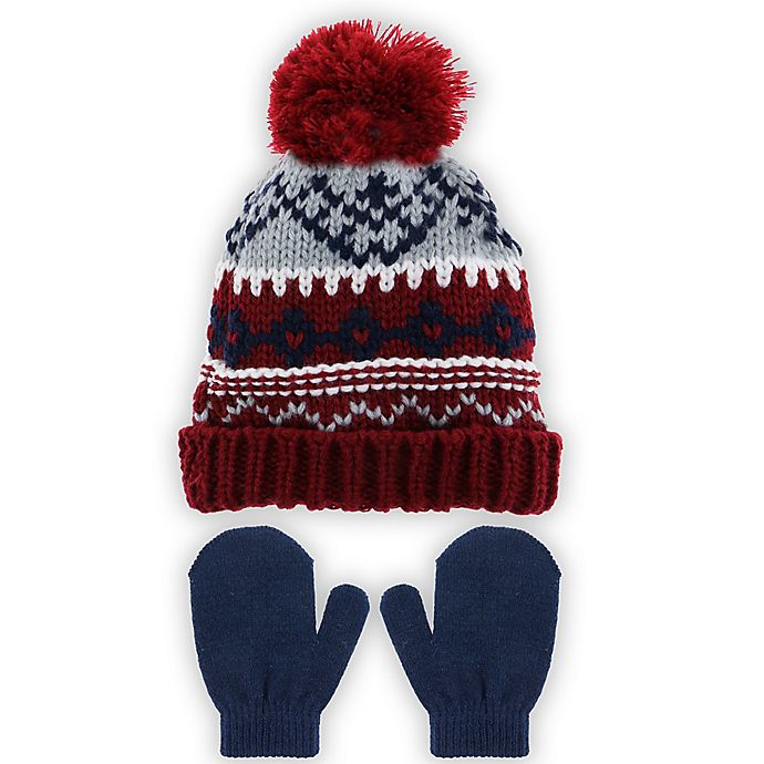 Alternate image 1 for Capelli New York 2-Piece Fair Isle Hat and Mitten Set in Burgundy