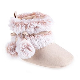 Stepping Stones Pompom Faux Fur Boot in Chestnut