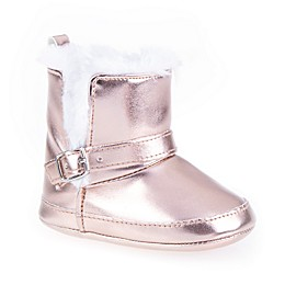 Stepping Stones Metallic Faux Fur Boot in Rose Gold