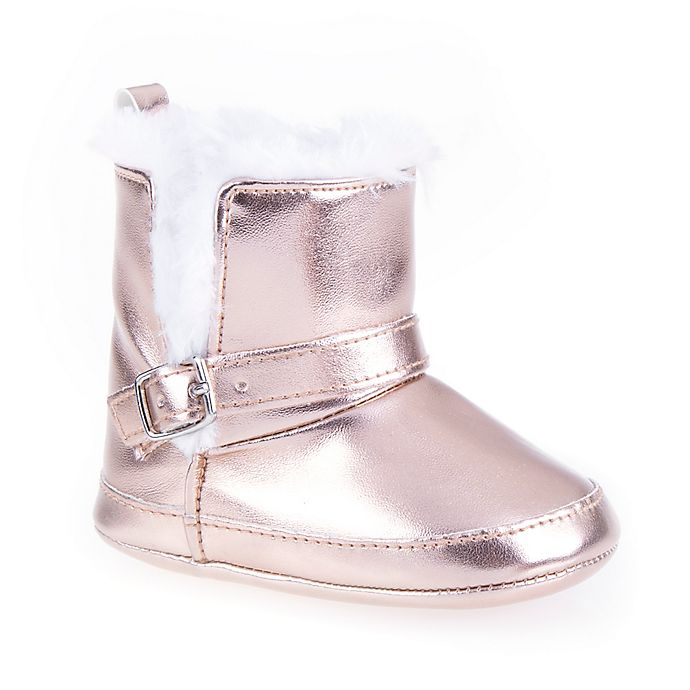 Alternate image 1 for Stepping Stones Metallic Faux Fur Boot in Rose Gold
