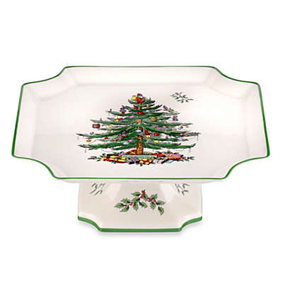 Spode® Christmas Tree Footed Square Cake Plate