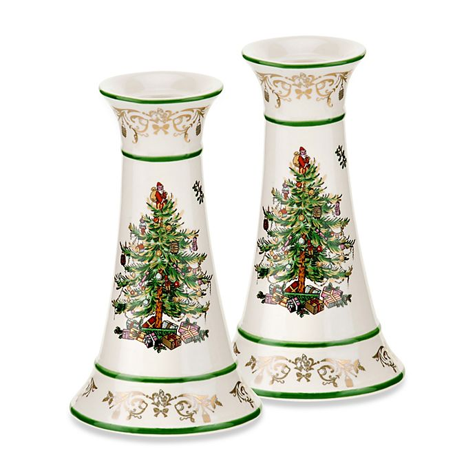 Spode Christmas Tree Candle Holder: Spode® Christmas Tree Gold Candlesticks (Set Of 2)