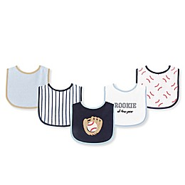 Luvable Friends® 5-Piece Baseball Bib Set in Blue/White