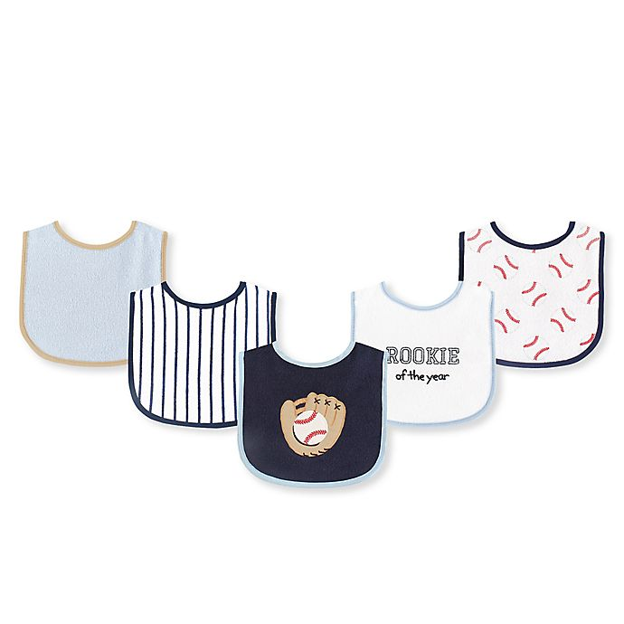 Alternate image 1 for Luvable Friends® 5-Piece Baseball Bib Set in Blue/White