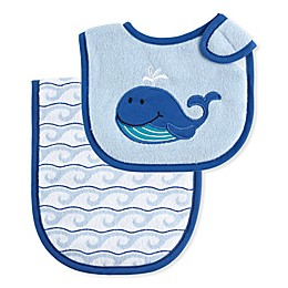 Luvable Friends® 2-Piece Whale Burp Cloth and Bib Set in Blue