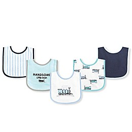 Luvable Friends® 5-Piece Train Bib Set in Blue/White