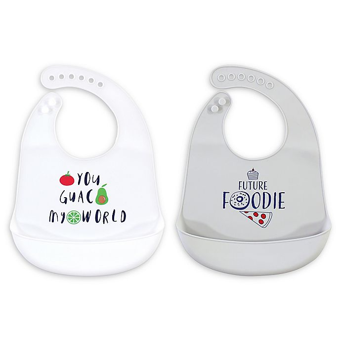 Alternate image 1 for Hudson Baby® 2-Pack Silicone Bibs