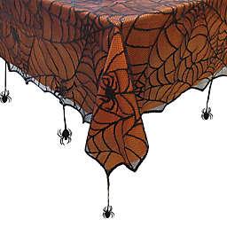 Crawling Halloween Spiderweb 60-Inch x 84-Inch Oblong Tablecloth in Black/Orange
