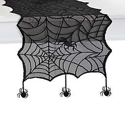 Crawling Halloween Spiderweb 70-Inch Table Runner in Black