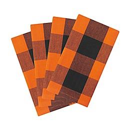 Elrene Home Fashions Farmhouse Fall Buffalo Check Napkins in Black/Orange (Set of 4)