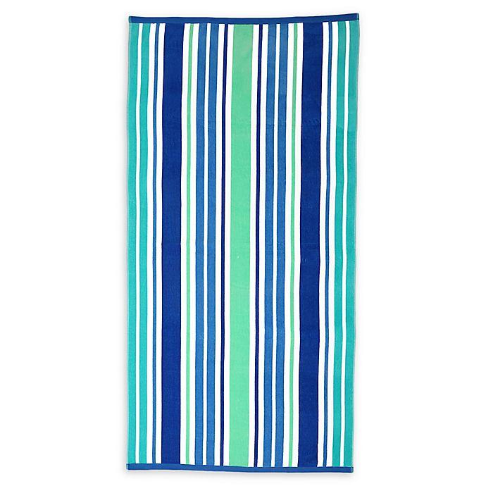 Alternate image 1 for Destination Summer Sunny Isles Turkish Cotton Beach Towel in Cool Stripe