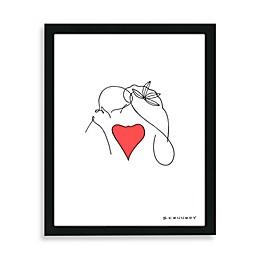 Kiss Framed Line Drawing