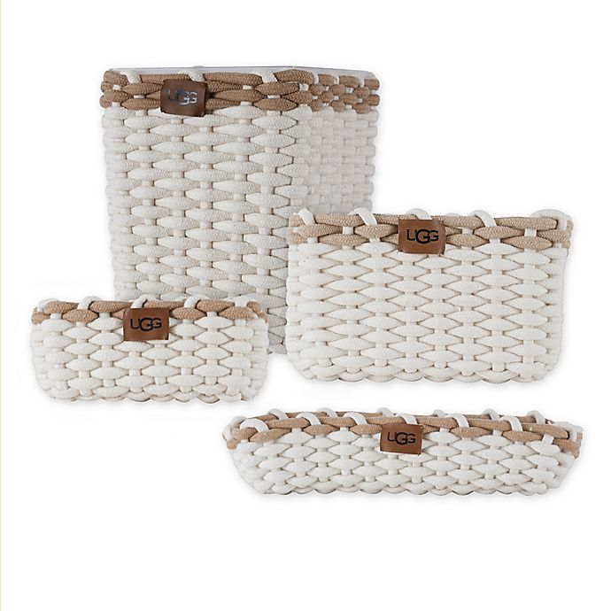 Alternate image 1 for UGG Coco Beach Cotton Rope Bins and Wastebasket Collection in Snow