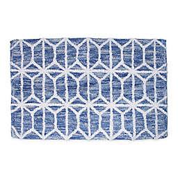 "Hexagon Border 20"" x 30"" Bath Rug in Blue"